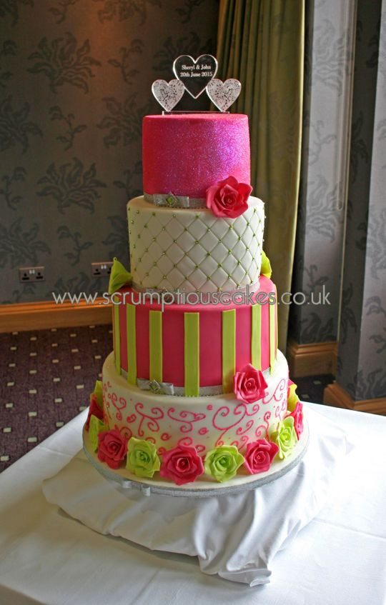 Hot Pink Lime Green Wedding Cake Awesome Cakes Lime Green