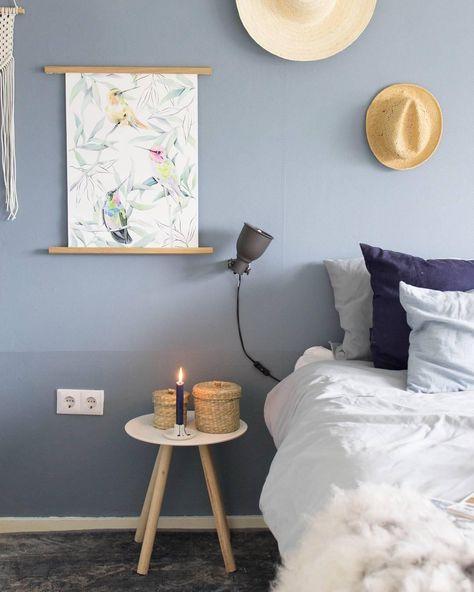 Schlafzimmer Inspiration Farbe: Wandfarbe Steinblaue Schönheit
