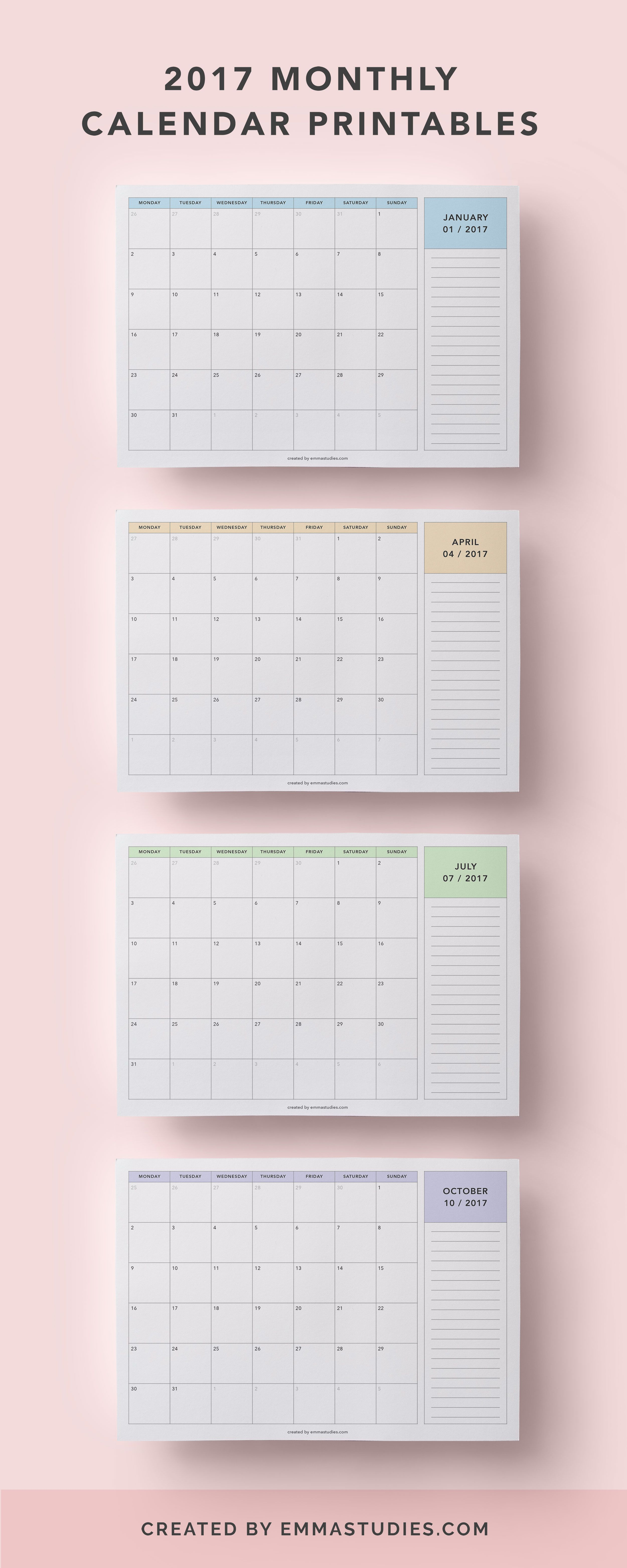 2017 monthly calendar printables free to download by emmastudies in pastel colours peach blue