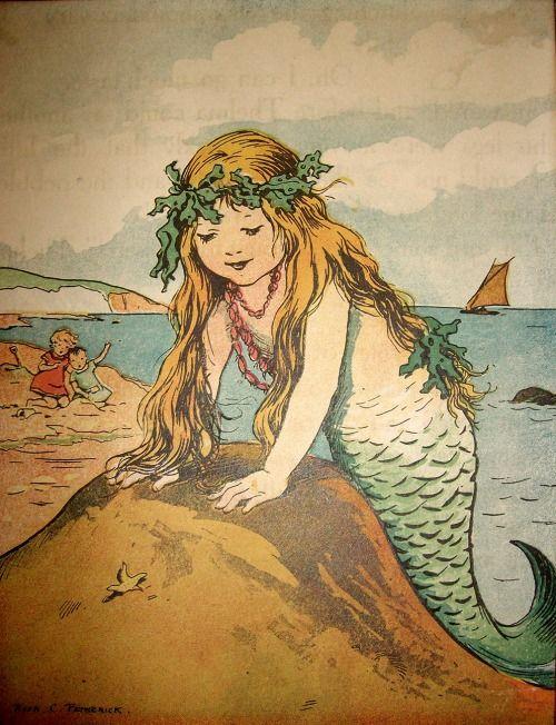 Mermaid Rosa C Petherick Circa 1920s Public Domain Mermaid Illustration Mermaid Art Vintage Mermaid