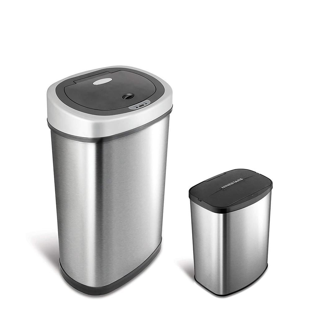 Garbage Can Garbage Can Ideas Garbage Can Garbagecan Automatic Stainless Steel Trash Garbage Can 2 Pack Touch Fre Trash Can Kitchen Trash Cans Garbage Can