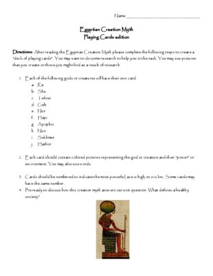 Ancient Egypt Egyptian Creation Myth Playing Card Action Assignment With Rubric From Historyteacherny On Tea Essay Idea Example Argument
