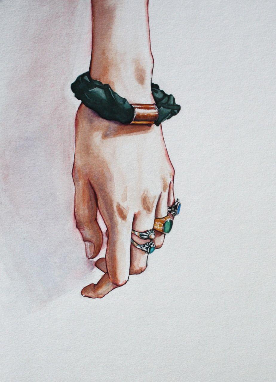 Illustration fashion sketch bangles bracelet hand design