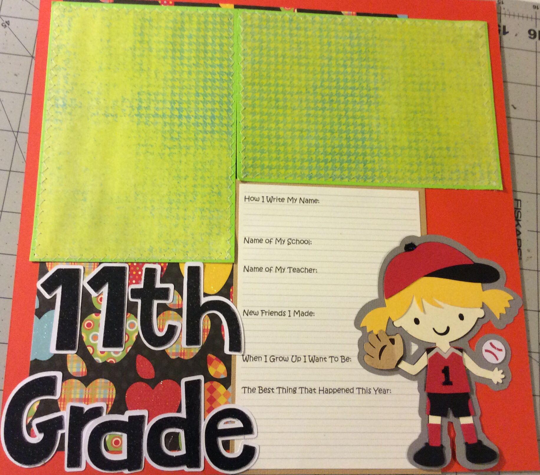 Scrapbook ideas using cricut - First Day Last Day School Scrapbook Album For Little Girl Using Cricut Cartridge Create A Friend
