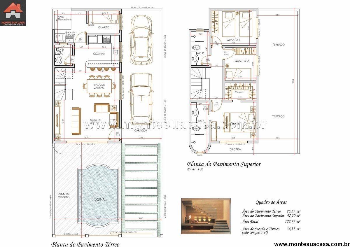 Sobrado 2 Quartos 122 77m Modern Contemporary House Plans