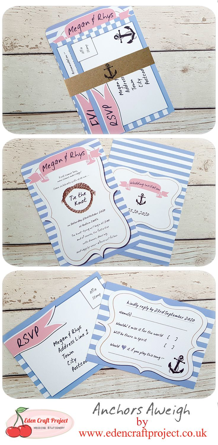 Anchors Aweigh Wedding Invitation. Perfect for Nautical, Seaside ...