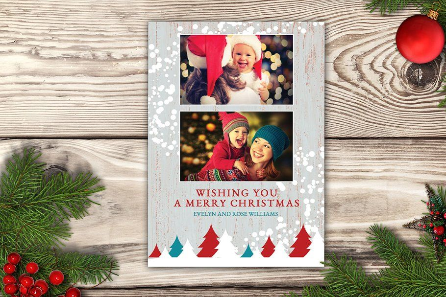 Ad Christmas Card Rustic Cottage By Nathan Knight Design On Creativemarket Tha Christmas Photo Card Template Digital Christmas Cards Christmas Photo Cards