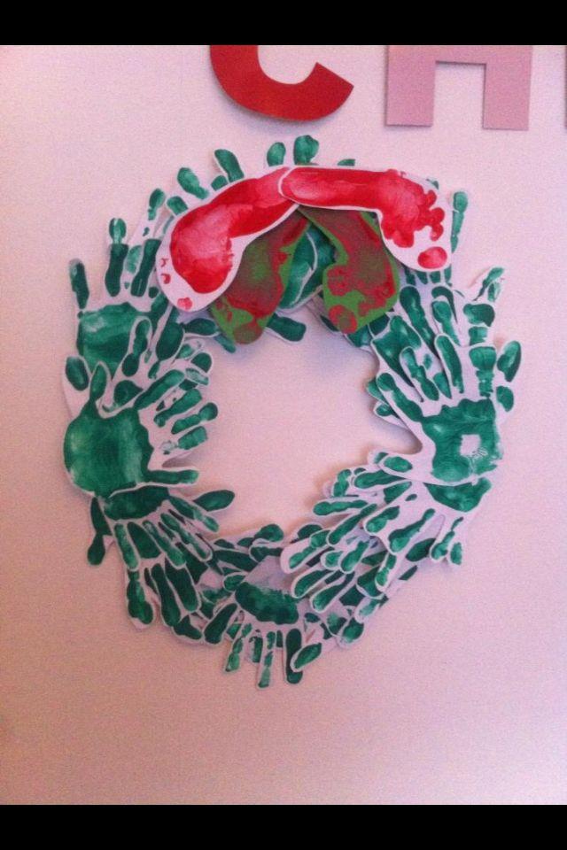 Hand and footprint Christmas wreath