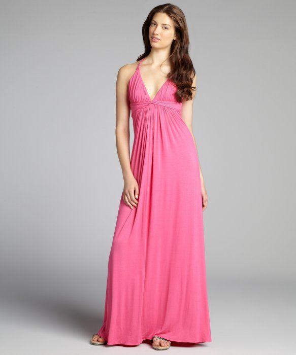 Sky pink jersey braided halter empire waist maxi dress | Clothing ...