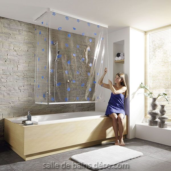 coquillages duo rideau de baignoire salle de bain. Black Bedroom Furniture Sets. Home Design Ideas