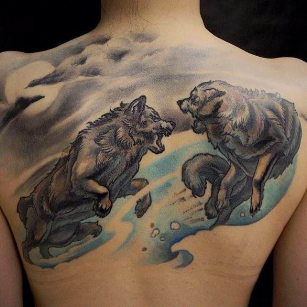 395a38091 Fighting Wolves Tattoo Motive #Tattoo, #Tattooed, #Tattoos | Back ...