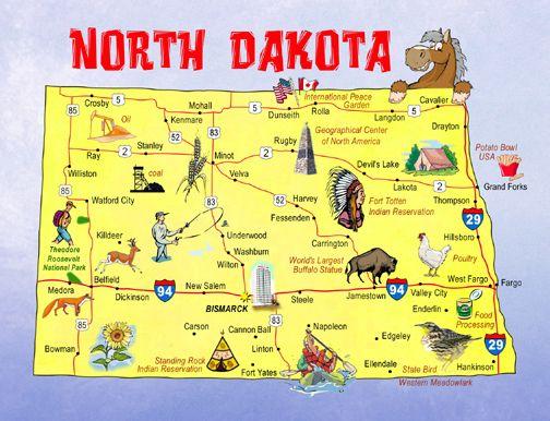 North Dakota State Map Postcard North Dakota State Map South Dakota