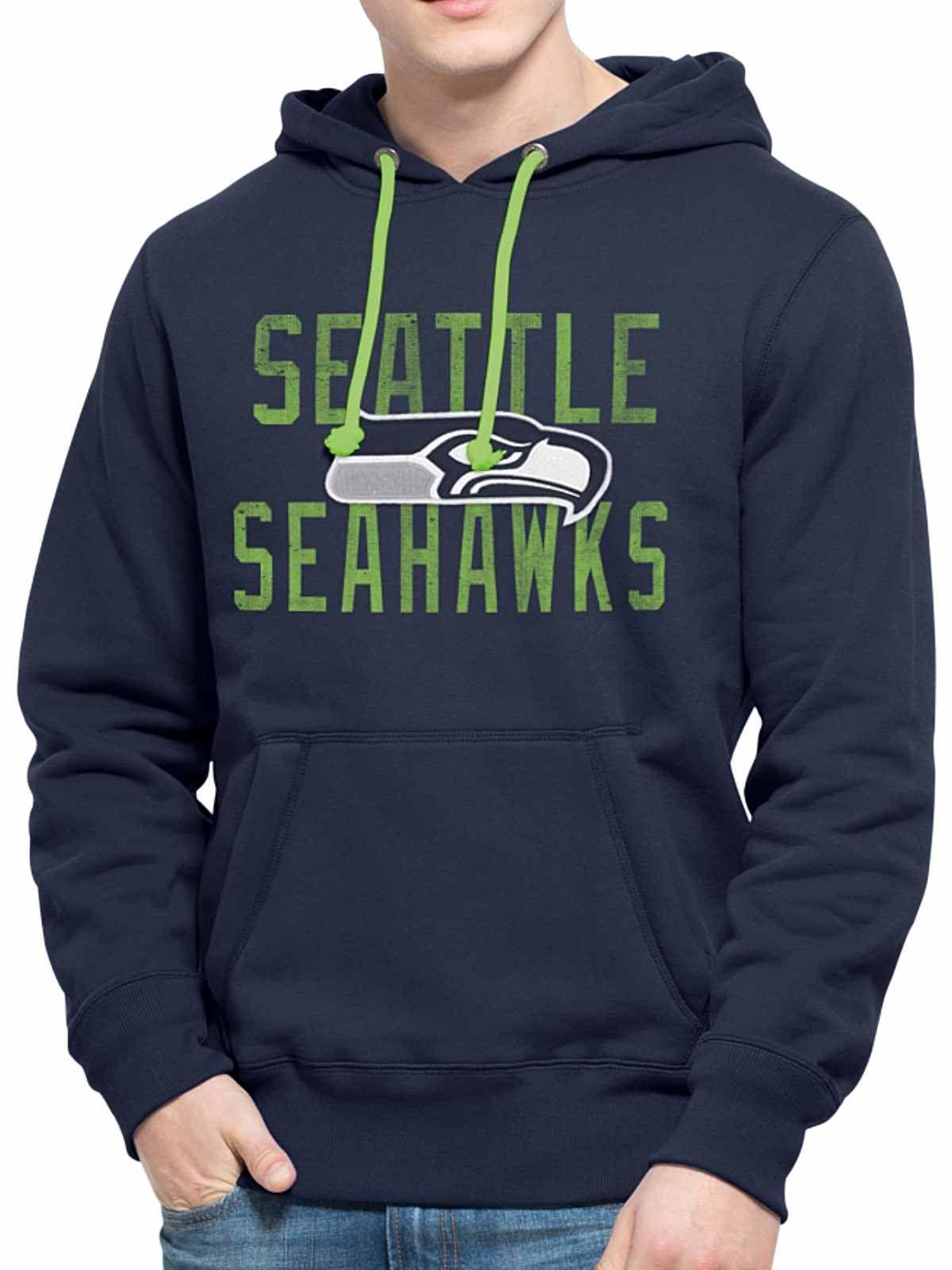 98bc73950 Seattle Seahawks 47 Brand Navy Cross-Check Pullover Hoodie Sweatshirt