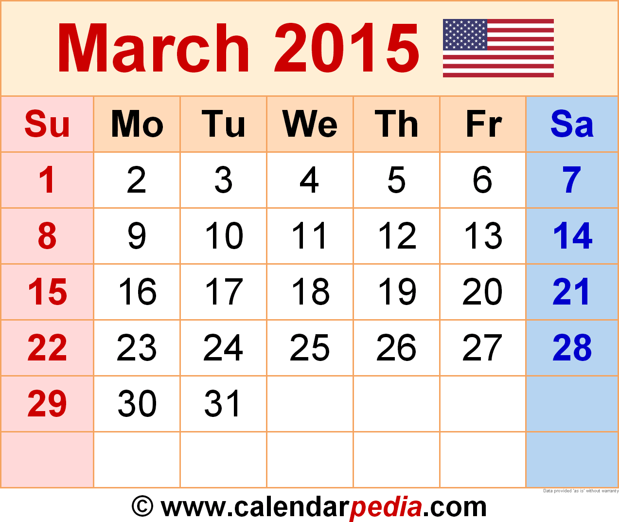 2015 March Calendar March 2015 Calendar As A Graphicimage File In