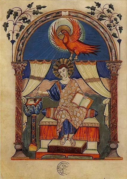 St. John the Evangelist from Codex Aureus of Lorsch German (Lorsch), Before 814 Vatican City, Biblioteca Apostolica Vaticana MS Pal.lat.50, fol.67v