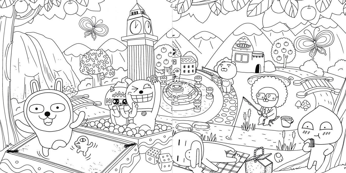 New Hello Kakao Friends Coloring Book 104 Pages Art Book Ryan Apeach Coloring Books Kakao Friends Book Art