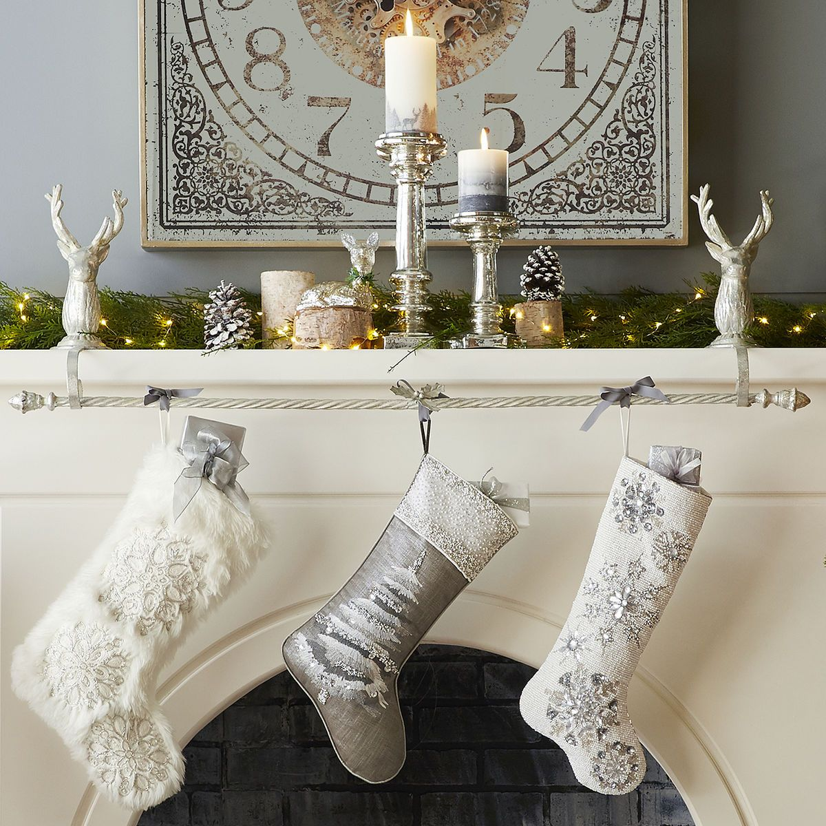 silver deer stocking holder rod set pier 1 imports. Black Bedroom Furniture Sets. Home Design Ideas
