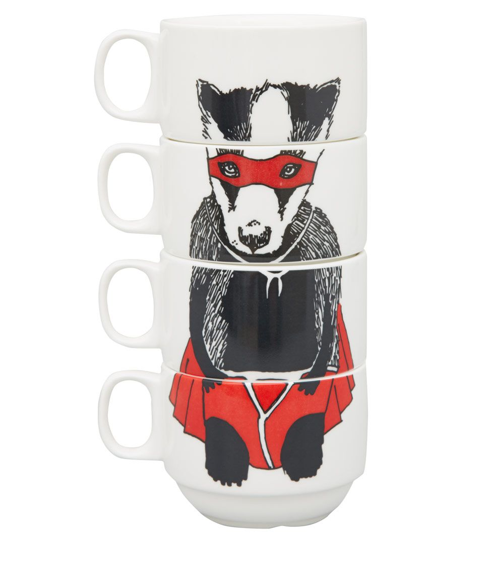 Jimbobart White Super Badger Bone China Cup Set | Home | Liberty.co.uk