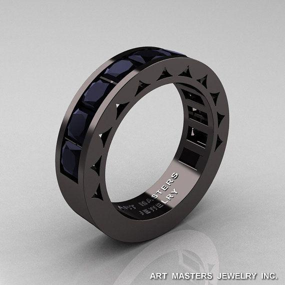 Mens modern 14k black gold princess black diamond channel for Chanel mens wedding rings