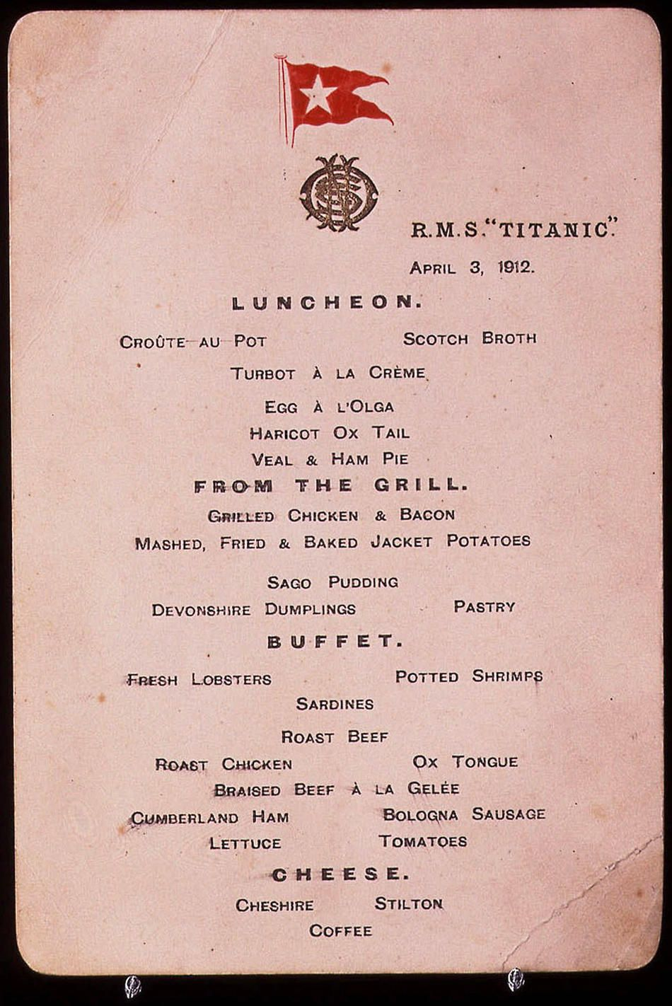 One Of A Pair Of Pre Voyage Menu Cards From April 3 1912 From