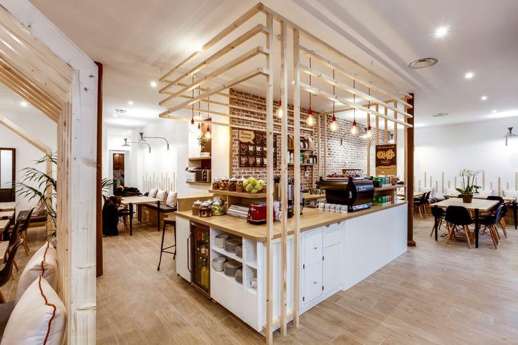 Idée déco pour aménager un café avec des cabanes en bois ...