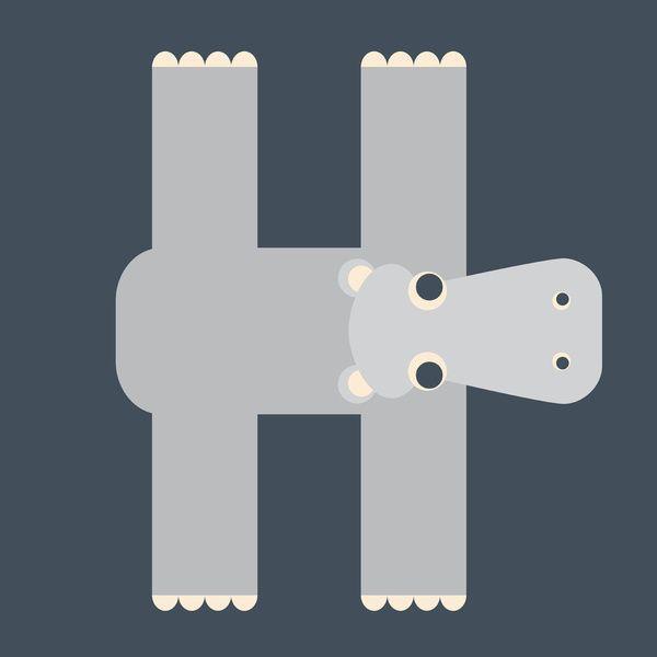 letter h animals | letter h // animal alphabet // hippo art print
