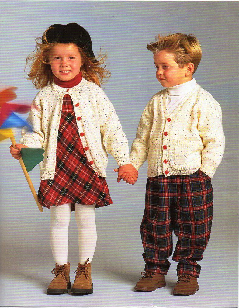 baby / childrens 4ply cardigans knitting pattern pdf round or v neck ...