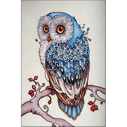 Diamond Painting Kit Blue Owl Rhinestone Paint By