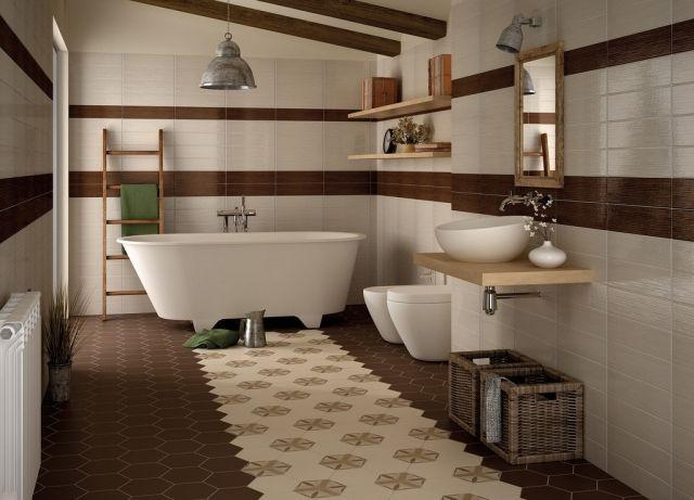 Fantastisch Badezimmer Rustikal Bodenfliesen Sechsecke Muster Braun Beige