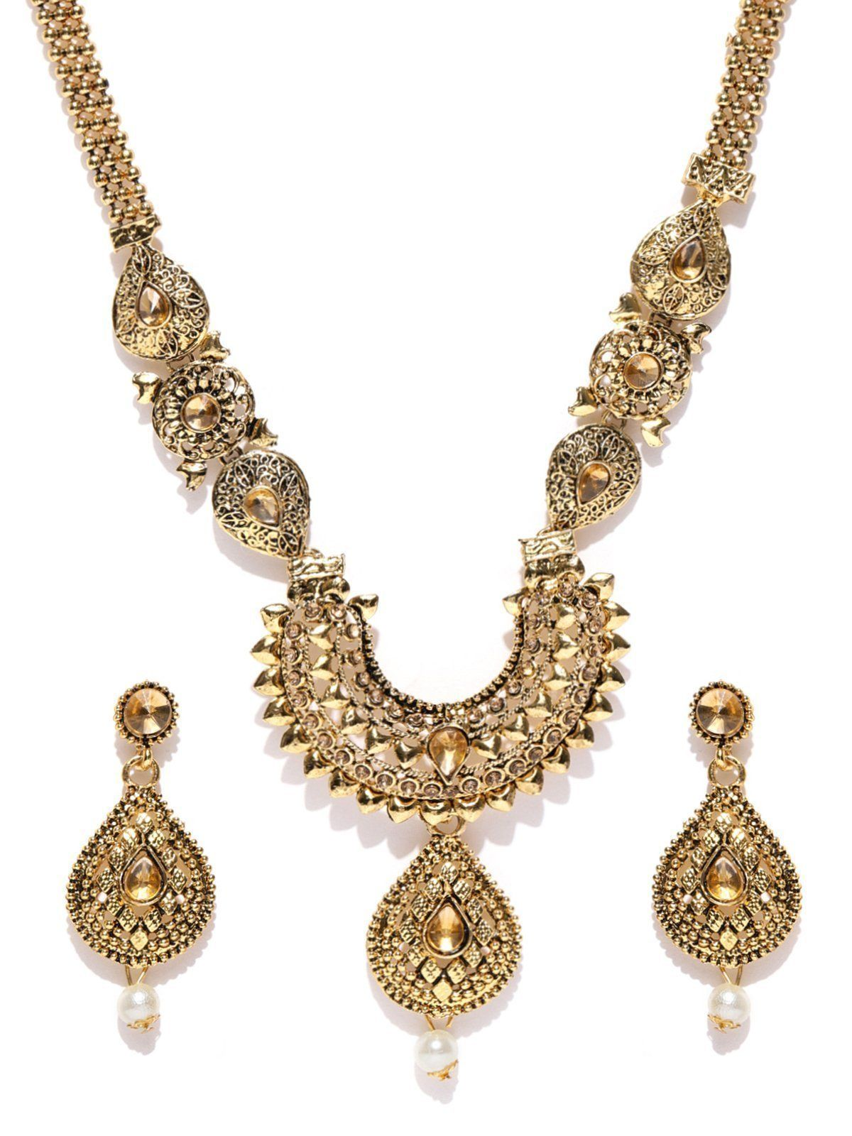 Zaveri Pearls Royal Look Gold Tone Ethnic Necklace Set Zaveri