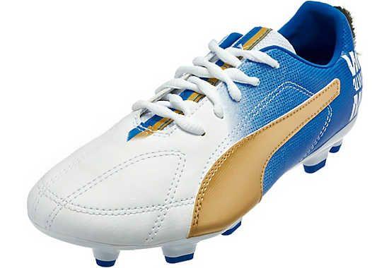 Puma Kids Mb 9 Fg Soccer Cleats White And Gold Chuteiras