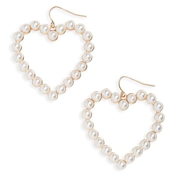 Women S Bp Imitation Pearl Heart Earrings 16 Liked On Polyvore Featuring Jewelry Fake Drop