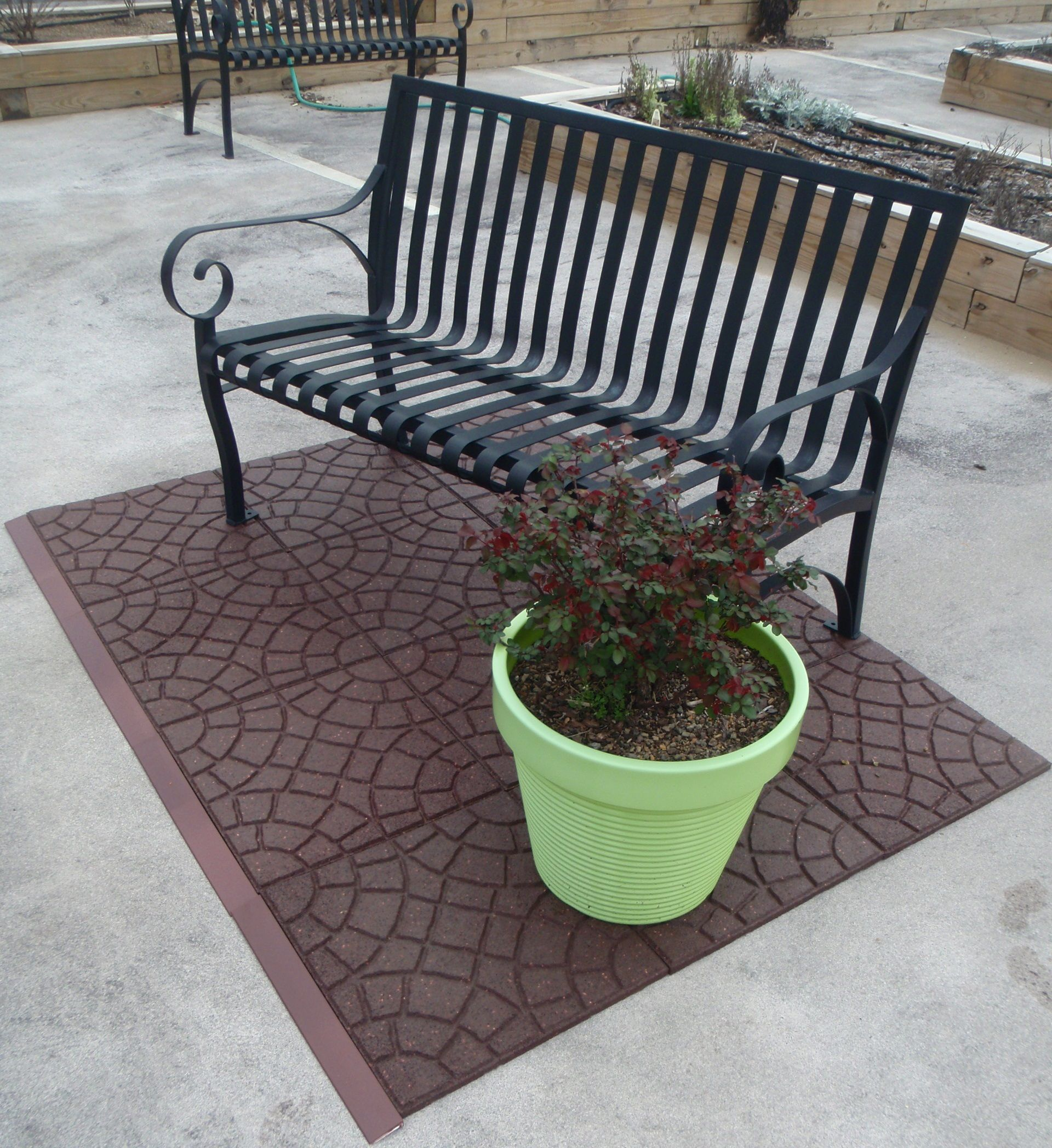 Home Depot sells Envirotiles a recycled rubber tile that can be
