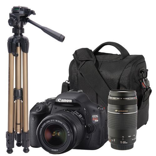 New!               Canon Rebel T3i 18MP DSLR w/ 18-55mm and 75-300mm Lens, Canon DSLR Bag, and Dynex Tripod