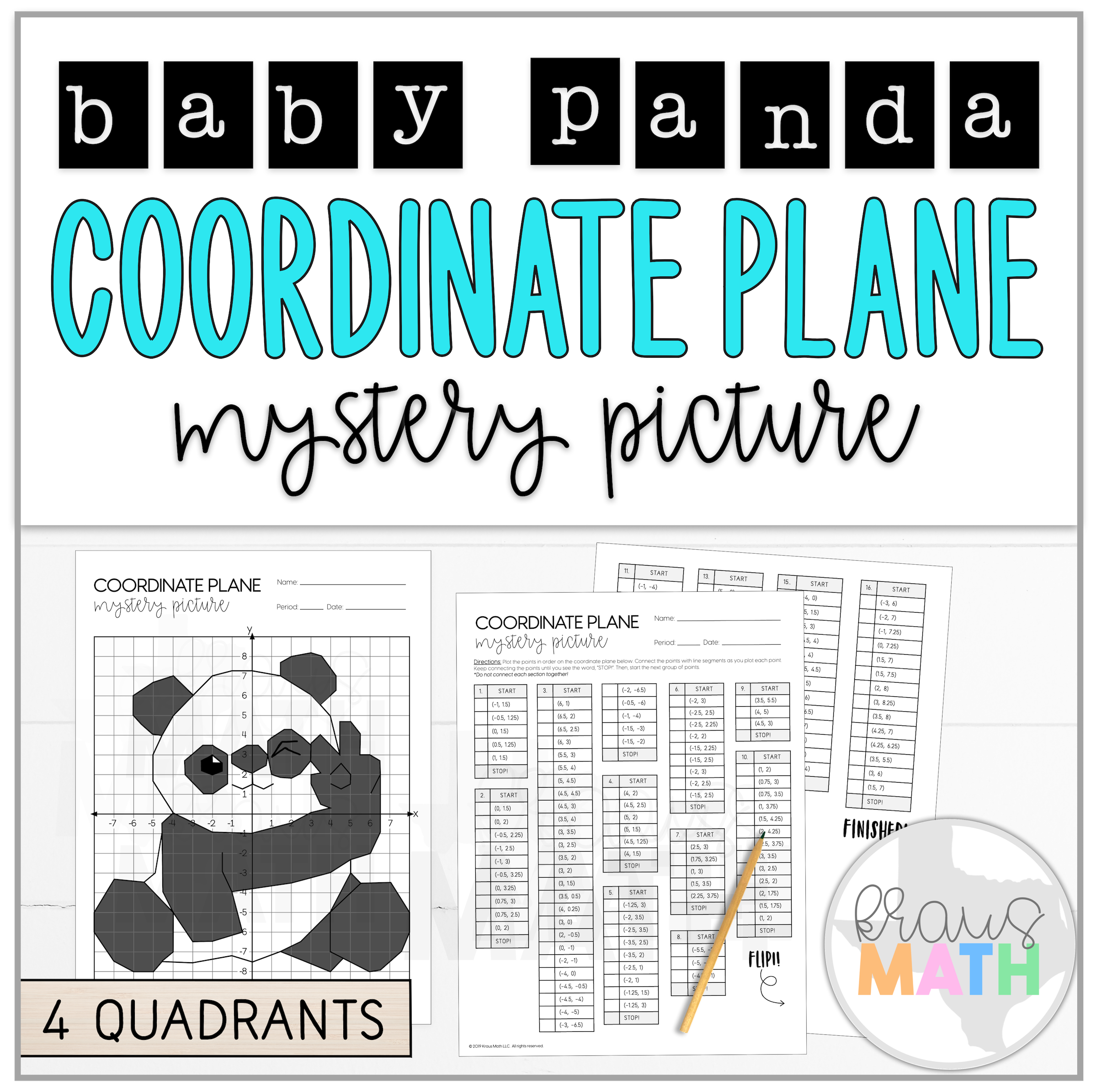 Cute Baby Panda Coordinate Plane Mystery Picture 4
