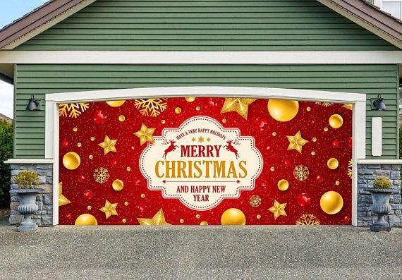 Merry Christmas Sign Garage Door Cover Garage Door Mural Holiday Outdoor Decor Xmas Mural Garage Door Cover Xmas Decorations Merry Christmas Sign Unique Christmas Decorations Outdoor Christmas Decorations