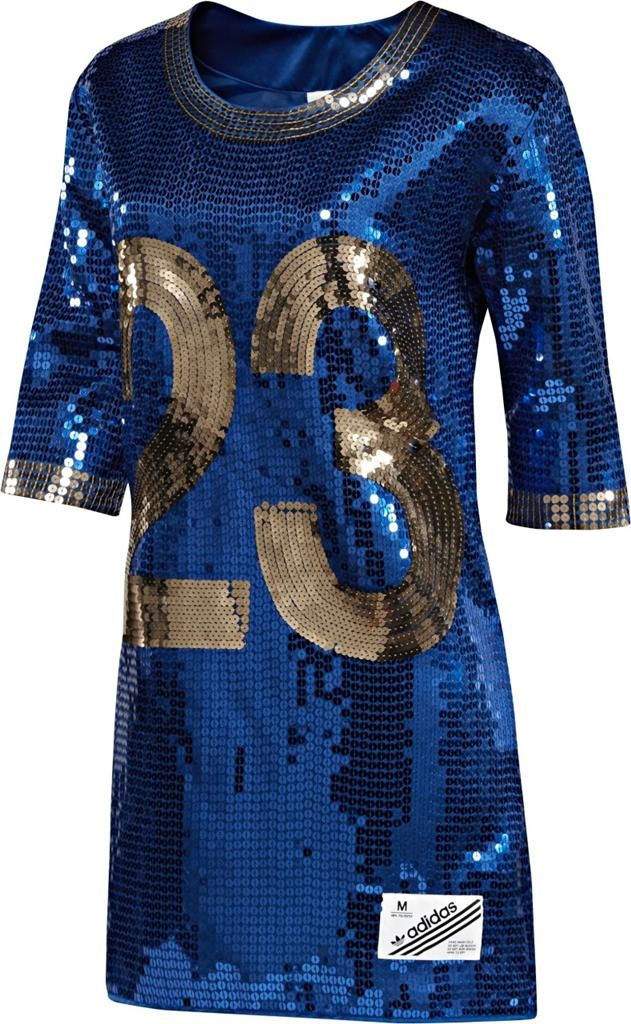 ObyO Original Adidas Jeremy Scott Royal Blue Gold  23 Sequin FB Jersey  Dress in Clothing 5780ee87b