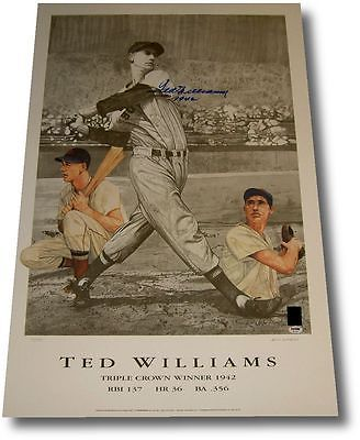 "Ted Williams Hand Signed Autographed 23""x35"" JUMBO Photo Red Sox 1942 PSA/DNA"