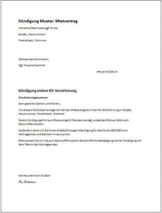 Kundigungsschreiben Vorlage Fur Arbeitnehmer