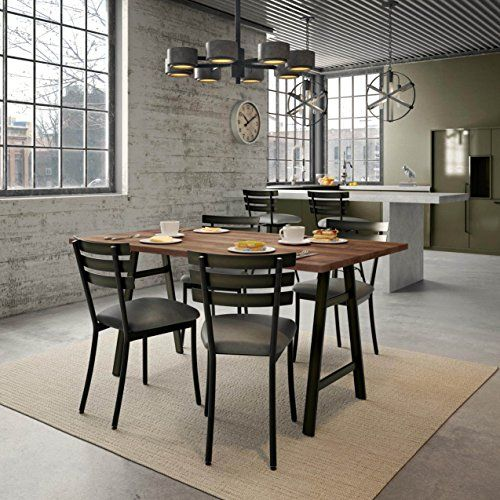 Amisco Unity Metal Chairs And Bridgeport Table, Dining Set Brown Black  Finish, Distressed, Wood Finish, Metal Finish, Steel Finish