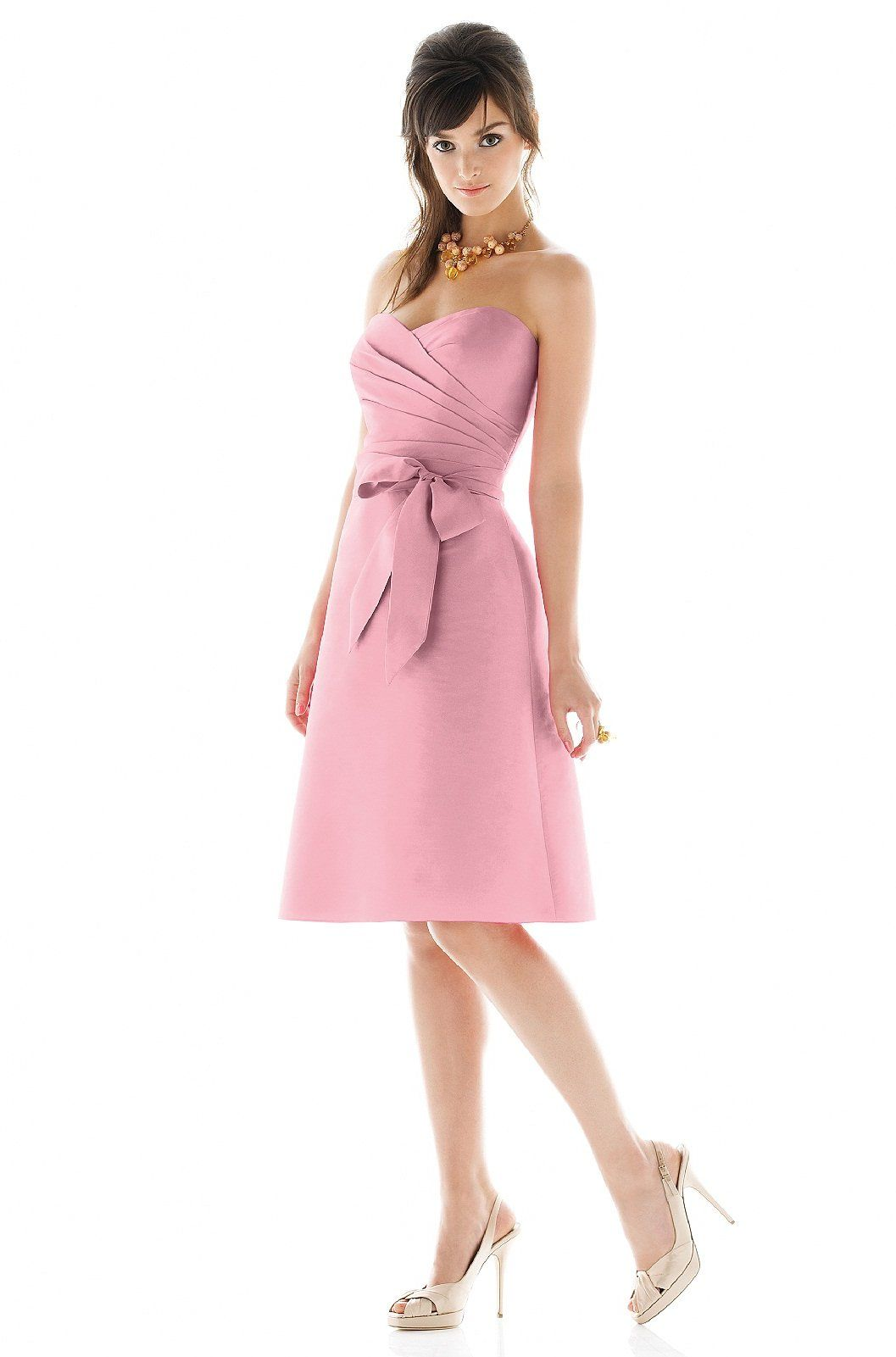 Me encanta este rosa vestidos pinterest party fashion alfred alfred sung style fabric dupioni purchase swatch cocktail length strapless sweetheart neckline dupioni dress with draped bodice and matching sash ombrellifo Gallery
