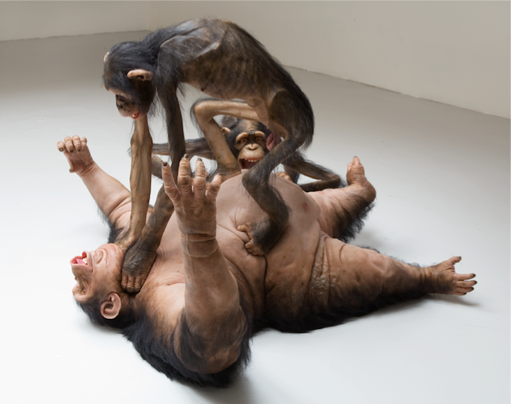 Chicago-born, New York-based artist Tony Matelli captures the ugly, hairy scene of a violent monkey fight in his hyperrealistic sculpture titled Old Enemy, New Victim. Made of steel, fiberglass, silicone, paint, and actual yak hair, the lifelike installation presents three primates nearing the end of a vicious brawl.