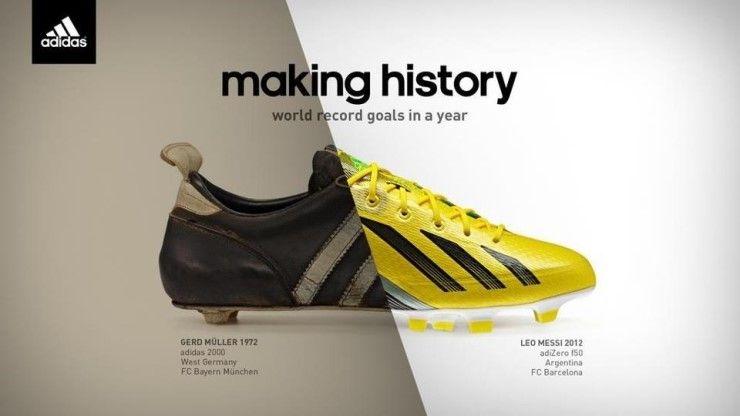 아디다스의 공식 모델인 FC 바르셀로나의 리오넬 메시가 2012년 한해 91골 기록을 세우며 역대 최다골 신...