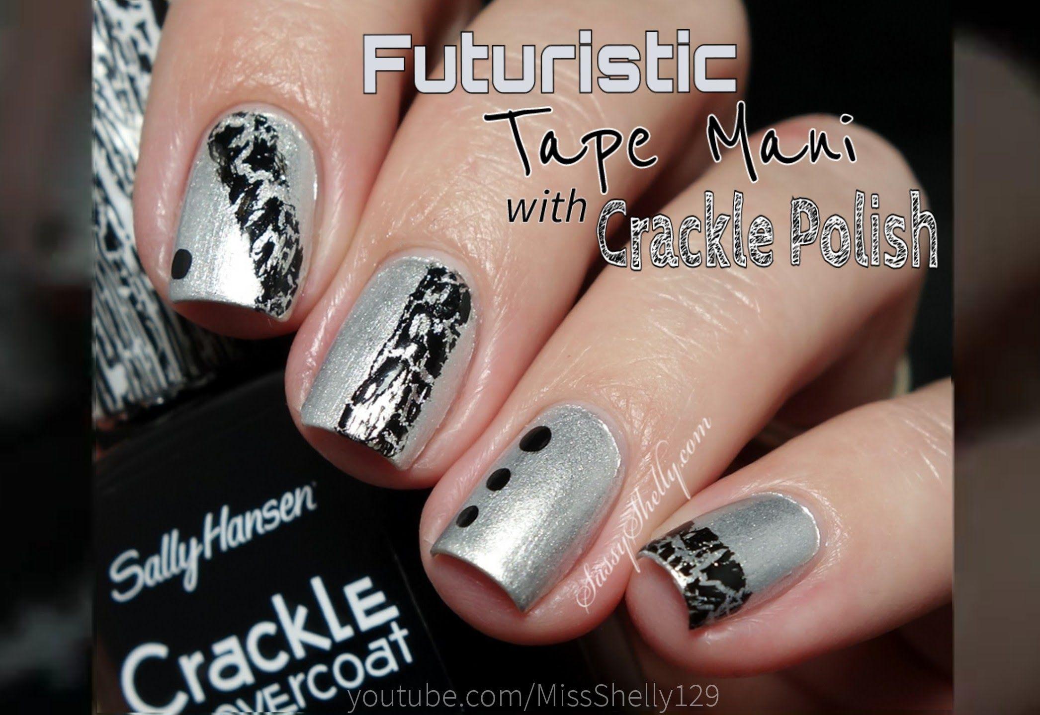 Easy Nail Art Black Silver Tape Mani With Sally Hansen Crackle Polish