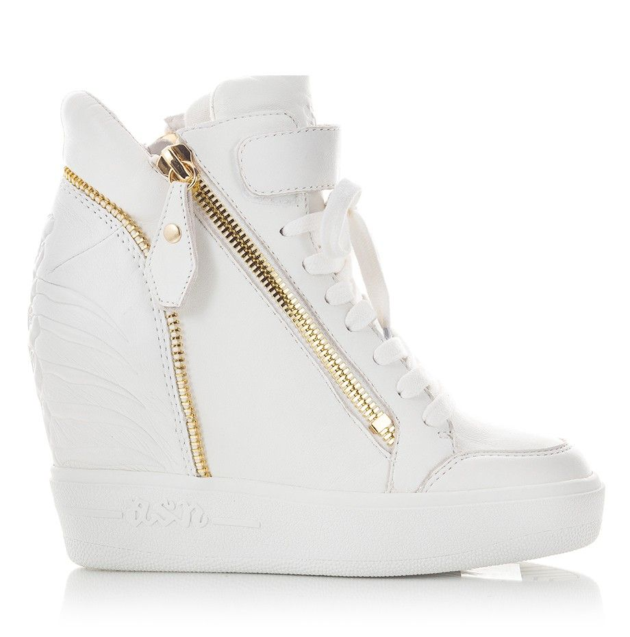 Ash Shoes - ALFA Sneaker wedges in white soft nappa leather upper featuring  gold-tone dual zip entry and lace-up vamp.