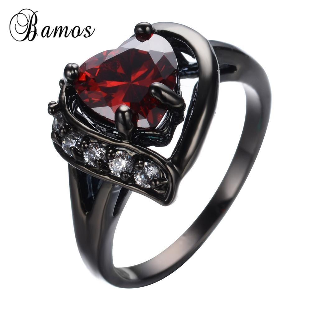 Red Heart Zircon Ring Retro Black Gold Filled Women Men Finger Rings: Gothic Wedding Bands Men At Reisefeber.org