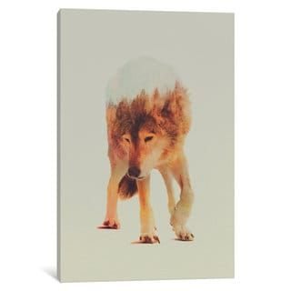 iCanvas Wolf in the Woods by Andreas Lie Canvas Print