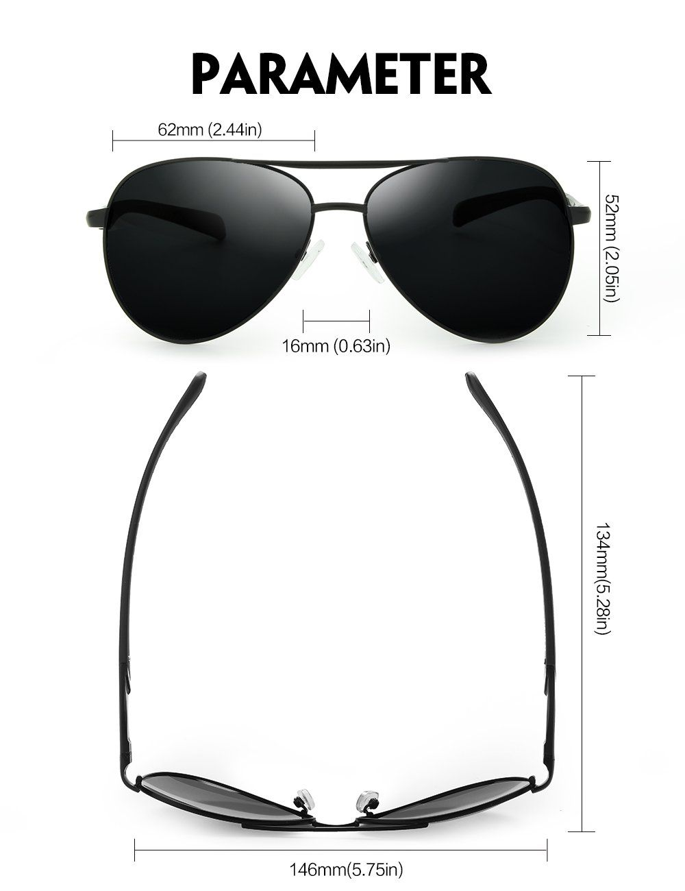 06346ee25b WELUK Aviator Sunglasses for Men Polarized Military Retro Mirrored Large  Frame Black and Grey 62