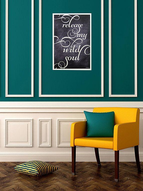 Déco bleu canard et jaune | Salons, Wall colors and House