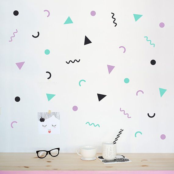 Pink And Mint Geometric Wall Decals Eco Friendly Wall Stickers